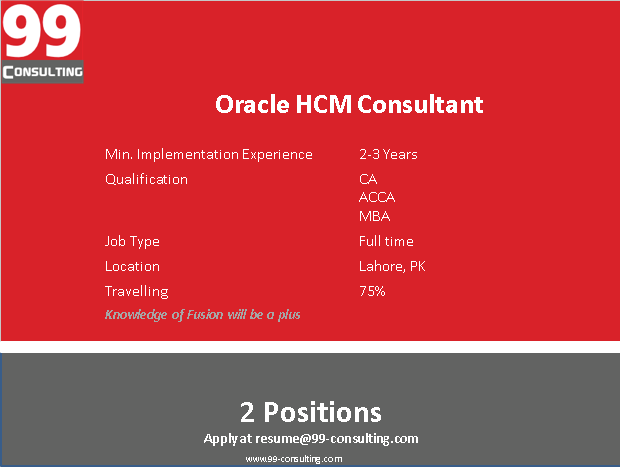 Oracle HCM Consultant