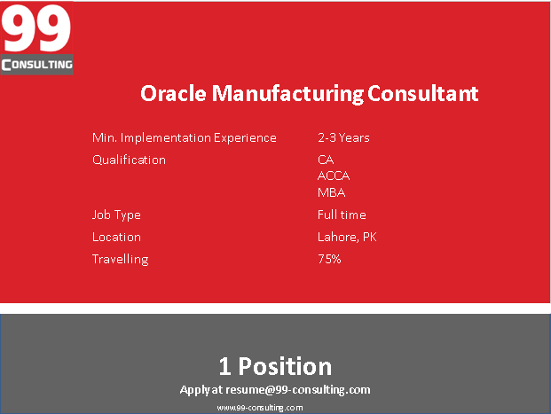 Oracle Manufacturing Consultant