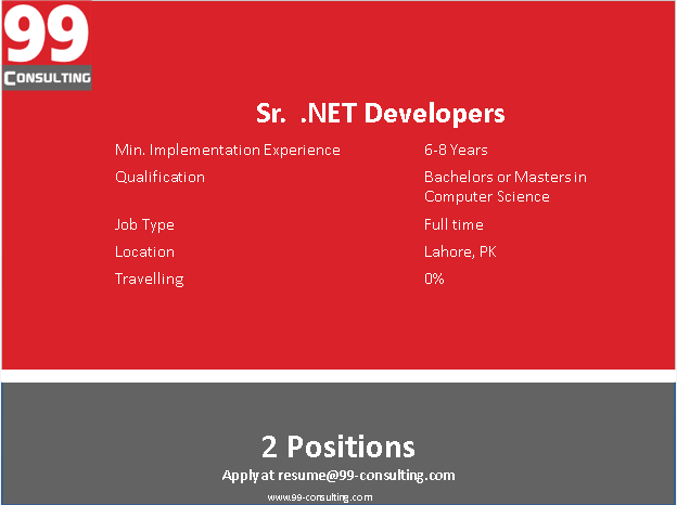 Oracle Sr. DotNet Developers