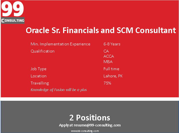 Oracle Financial and SCM Consultant