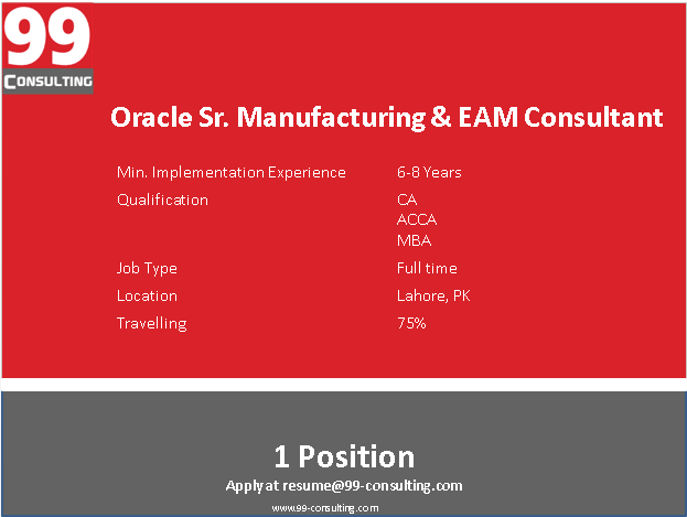 Oracle Manufacturing & EAM Consultant
