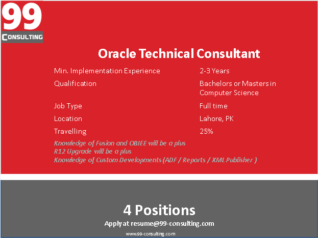 Oracle Technical Consultant with Upgrade, ADF and Development Expertise